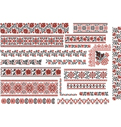 Floral Red and Black Patterns for Embroidery Stitc vector image