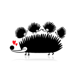 funny hedgehogs - mother and children black vector image
