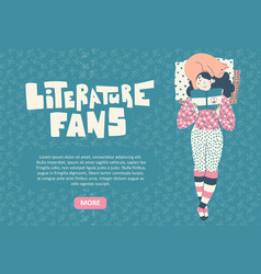 girl with cat lies reading book literature fan vector image