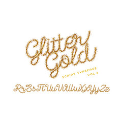 Glitter gold handwritten alphabet vector