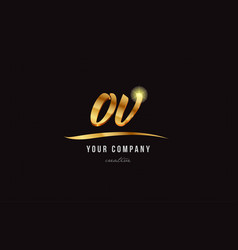 gold alphabet letter ov o v logo combination icon vector image