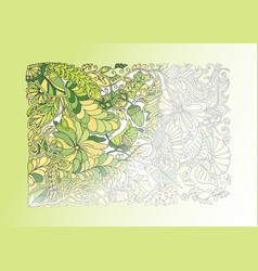 green spring doodle half coloring vector image