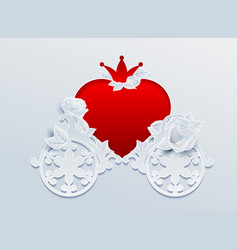 Greeting card wedding carriage shaped heart and vector