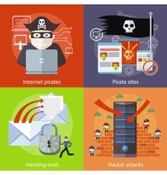 Hacker attaks Internet Pirates and Pirate Sites vector image