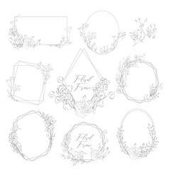 Hand drawn frames with florals and plants vector