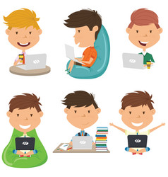 Happy boys learn and do homework by laptops vector
