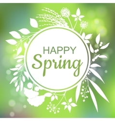 Happy Spring green card design with a textured vector image