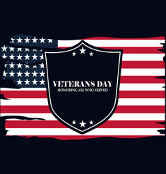 Happy veterans day shield honoring all who served vector