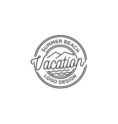 hipster stamp mountain and beach with line art vector image
