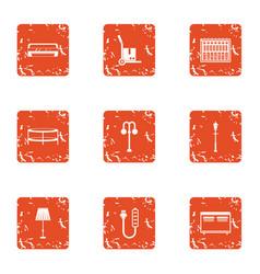 Home facade icons set grunge style vector