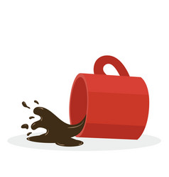 Hot spilled coffee red mug vector
