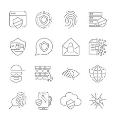 icons set of information and internet protection vector image