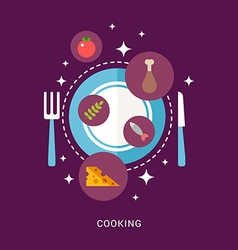 in Flat Design Style Food and Cooking Icons on the vector image