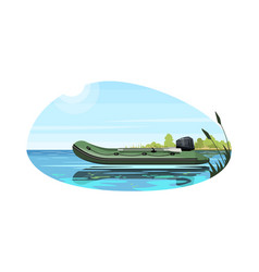 Inflatable boat with engine semi flat vector