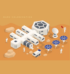 isometric mars colonization biological vector image