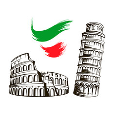 Italy colosseum leaning tower of pisa vector