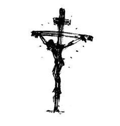 Jesus on cross hand drawn sketch vector
