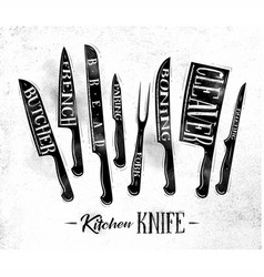 kitchen meat cutting knifes poster chalk vector image