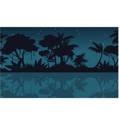 lake scenery on jungle silhouette at night vector image