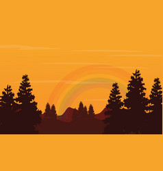 Landscape of hill and rainbow silhouettes vector