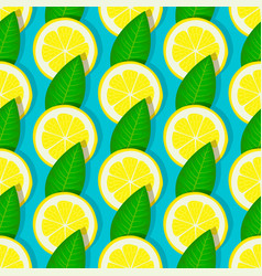 lemon with green leaves seamless pattern vector image