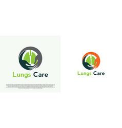 Lung organ health care logo design vector