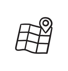 Map with pointer sketch icon vector