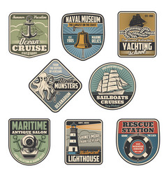 marine icons nautical heraldic anchor lighthouse vector image
