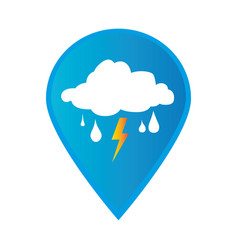 Mark icon pointer gps with rain storm weather icon vector