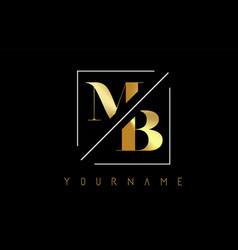Mb golden letter logo with cutted and intersected vector