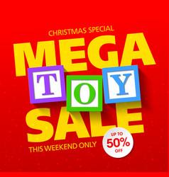 Mega toy sale banner vector