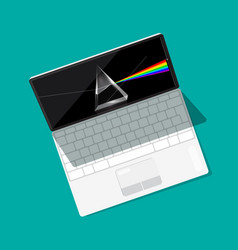 Modern open laptop computer with prism on screen vector