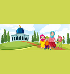 muslim family in front of mosque vector image
