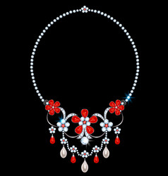 Necklace with diamonds and rubies vector