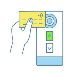 Nfc credit card reader color icon vector