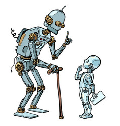 old and new robot vector image