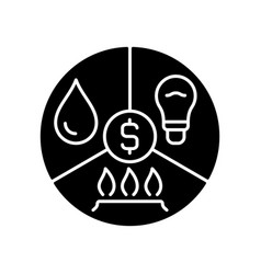 Paying bills black glyph icon vector