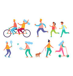 people outdoor activities hobby icons set vector image