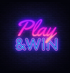 play win neon text design template gaming vector image