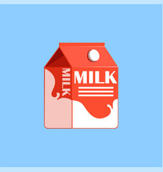 Red carton box of milk fresh and healthy dairy vector