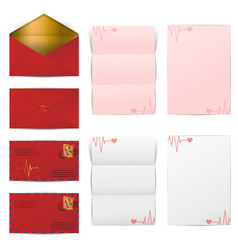 red envelopes and blank letter papers template set vector image