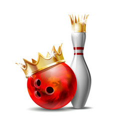 red glossy bowling ball with golden crown and vector image