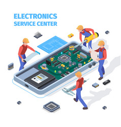 repair service concept people making repair at vector image