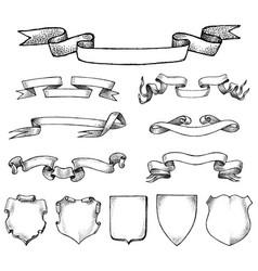 Ribbon labels ande frame for national emblem vector