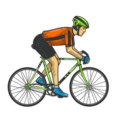 Road bicycle racer sketch engraving vector