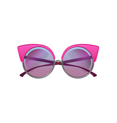 Round sunglasses with pink metal frame and purple vector