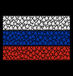 Russia flag mosaic of plant leaf items vector