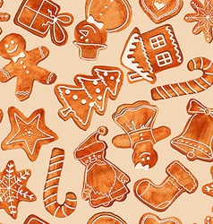 seamless pattern watercolor gingerbread cookies vector image