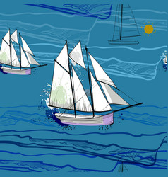 seamless pattern with sailing-ship vector image