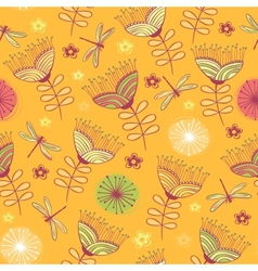 seamless vintage flower pattern background vector image
